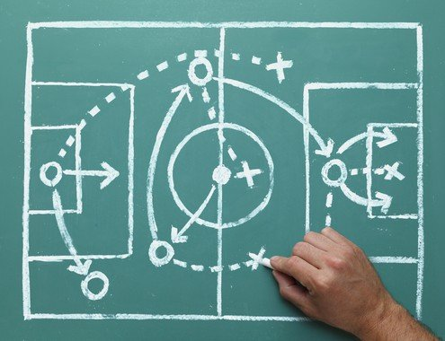 Soccer Play on Chalk Board - Small -- shutterstock_143044870